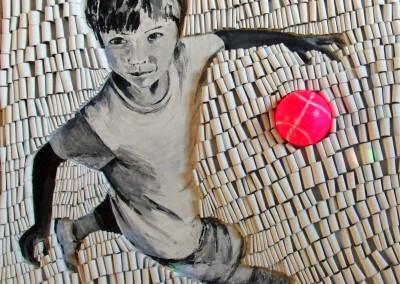 Junge mit pinkem Ball | 90 x 90cm