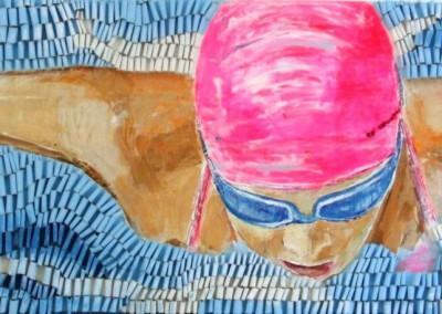 Schmetterlingsschwimmerin pink | 60 x 200cm