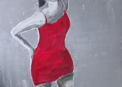 Rotes Kleid | 100x100cm
