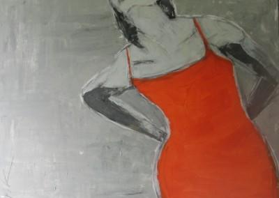 Oranges Kleid | 100x100cm