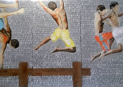 Jungs am Steg |330x150cm
